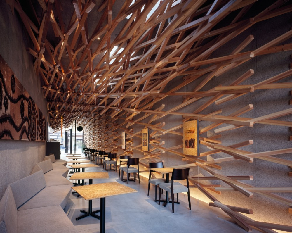 Kengo kuma x starbucks dear coffee i love you for Wooden hotel design