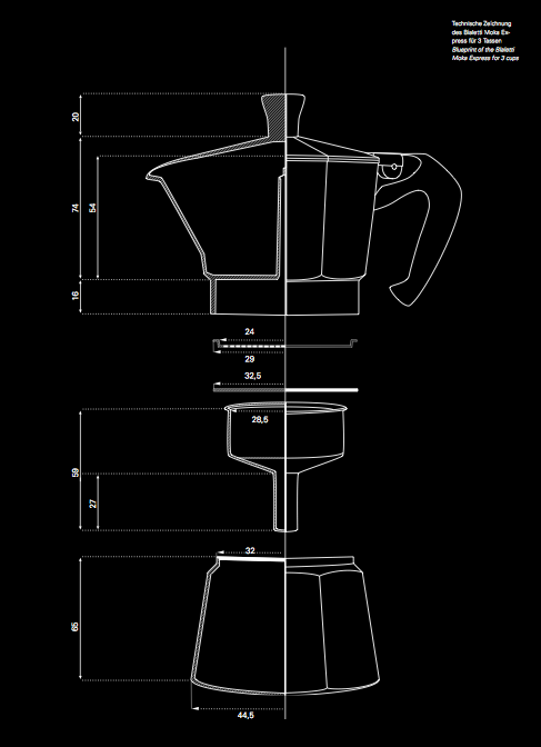 Bialetti Blueprint Dear Coffee I Love You